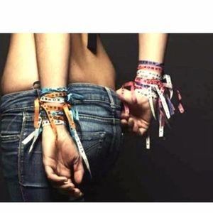 SET OF 6 -Natural Fabric/Ribbon Bracelets Brazilet